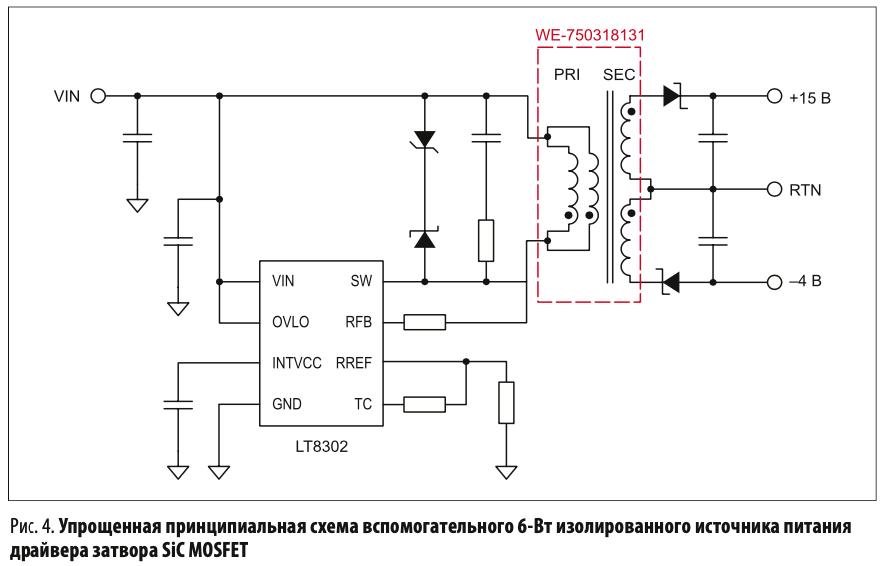 Упрощенная принципиальная схема вспомогательного 6-Вт изолированного источника питания драйвера затвора SiC MOSFET